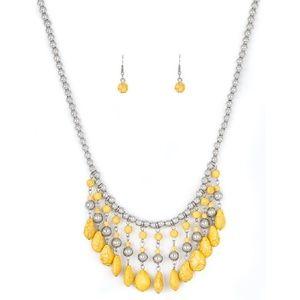 Yellow Stone Fringe Necklace & Earrings in Silver